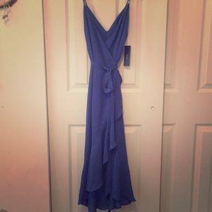 Blue ruffles midi wrap dress! Never been worn!